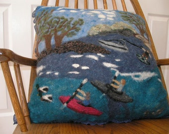 Blue Needle Felted Pillow with River Scene