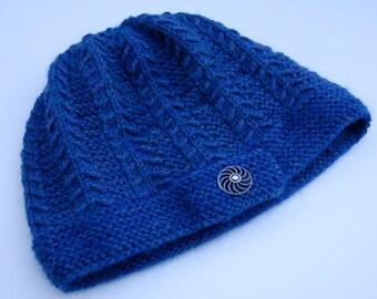 Knit blue hat with button, women's hat, knit blue beanie, acrylic wool blend hat, women's beanie, knit beanie blue, knit hat blue,