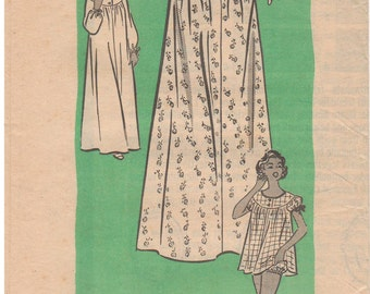 1950s - Mail Order 9127 Vintage Sewing Pattern Size 12 Nightgown Sleepwear Pajamas Gathered Yoke Collar