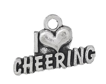 I Love Cheering Charms - Antique Silver  - 20x13mm - 8pcs -  Ships IMMEDIATELY from California - SC1263