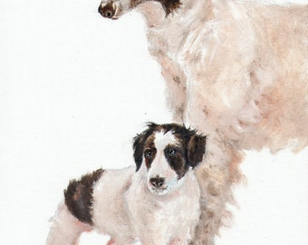 Original Oil Art BORZOI Portrait Painting Artist Signed Artwork Puppy Dog