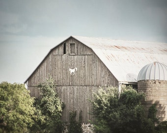 Barn Picture, Rustic Artwork, Modern Farmhouse Decor, Blue Green and Brown Art, Country Photograph, Horse Barn Photo, Nature Photography