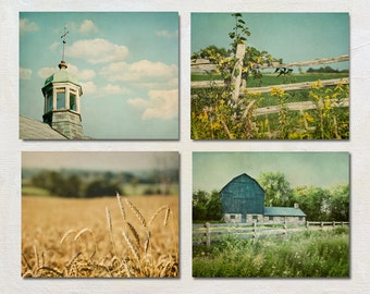 Modern Farm Photography Set of Four Prints, Green Country Artwork, Rustic Fence Picture, Farmhouse Wall Art Collection, Barn Photo