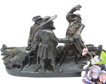Antique French Bronze Statue, Three Men with Dog, Betting on a Pig