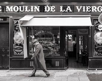 Paris Photography - Classic Paris Moment,  Street Scene, Paris Home Decor, Warm Black and White Fine Art Photograph
