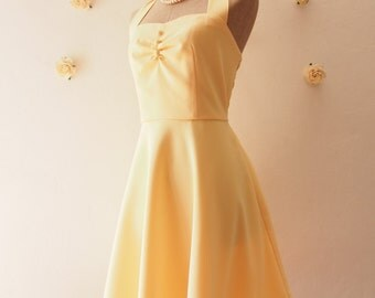 Yellow Bridesmaid Dress Emma La La Land Dress Yellow Party Dress Vintage Halter Dress Yellow Rockabilly Yellow Summer Sundress