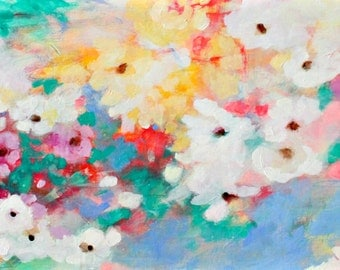 """Colorful Loose Floral Painting, Original Abstract Art, Acrylic Painting 12x24"""" """"Summer Song"""""""