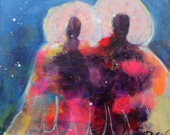 "Angel Painting, Colorful Figures, Small Original Painting, Affordable Art ""Two As One"" 8x8"""