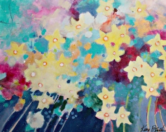 """Abstract Floral Painting on Canvas, Loose Flowers, Yellow, Blue, Modern, Cheerful """"Daffodil Riot"""" 18x24"""