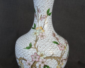 "9"" White Cloisonne Vase Birds Cherry Blossoms Peoples Rep. of China"