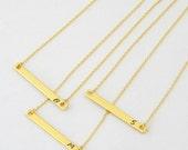 Gold Bar Initial Layering Horizontal Sideways Necklace