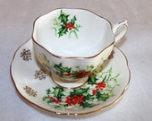 Queen Anne English China Footed Teacup and Saucer, Yuletide