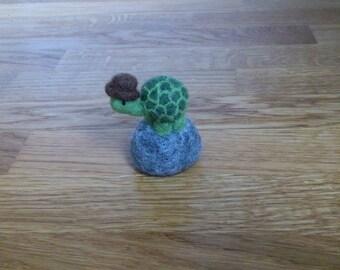 Needle felted miniature turtle tortoise home decor gift under 25
