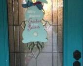 Custom Wooden Bunny Easter Door Hanger