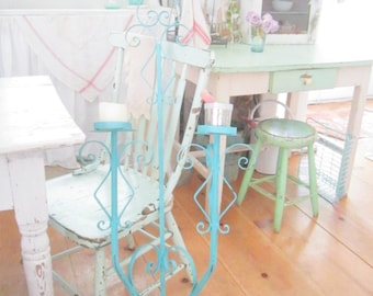 Shabby  Vintage ornate  aqua  metal candelabra shabby chic prairie cottage chic