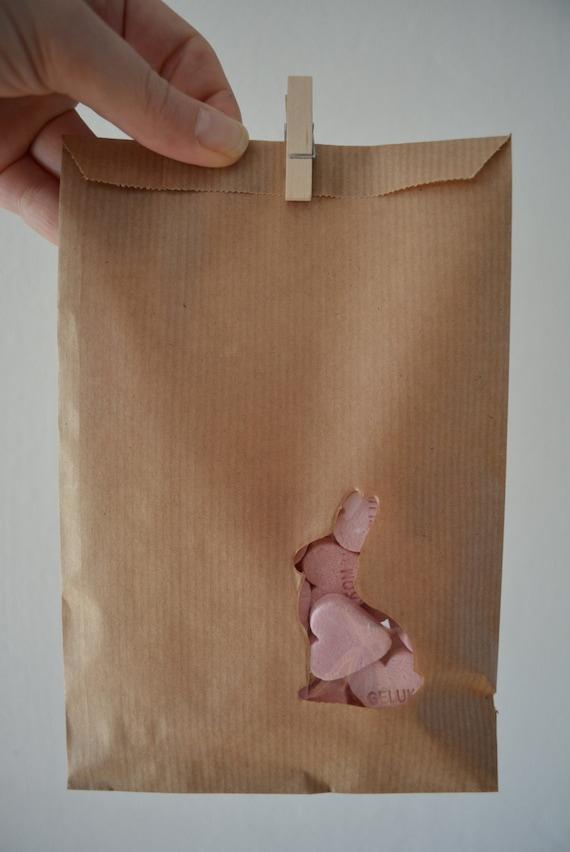 Sale kraft papieren zakjes met een konijn venster in een for Papieren kraft zakjes