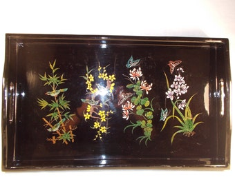 Vintage Hand Painted Lacquered Wooden Serving Tray With Birds and Flowers