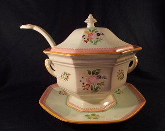 Adams Lowestoft Calyx Ware Flora Red Rope Band Covered Tureen With Under Plate and Ladle