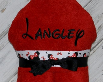 Personalized Hooded Towel - Sample Shown in Red Ripe