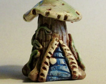 Fairy house miniature polymer clay elf house OOAK