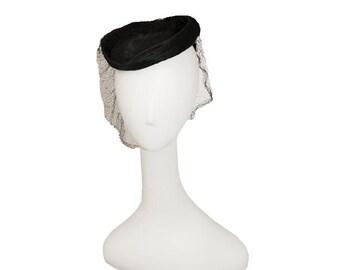 Black Tilt Hat, Wool Hat, Netting, Veil, Janyth Roy, Black Straw Hat, Vintage 1940s