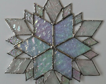 stained glass snowflake suncatcher  (design 36)