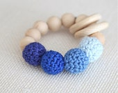 Sale! Baby blue, carolina blue, persian blue, ultramarine blue teething ring toy with crochet wooden beads. Rattle for baby.