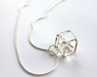 Geometric necklace - minimalist jewelry- minimal 3D pendant