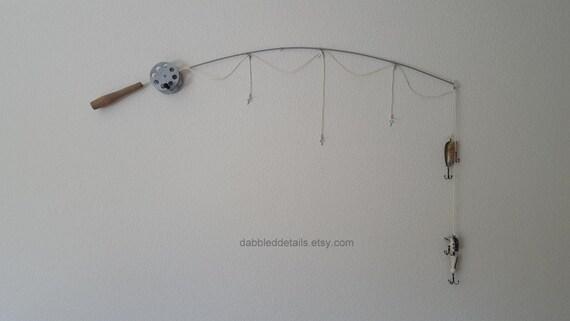 Fishing Rod Pole Frame - Silver Pole  - No Photo Frames - 3 Strings Plus Bobber(s)/Lure(s)