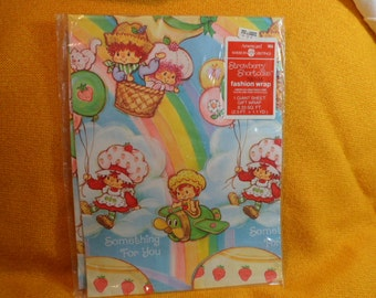 Vintage Strawberry Shortcake wrapping paper MIP American Greetings