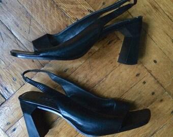 1990s Black Slingback Heels