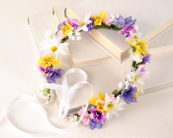 Flower Crown Headpiece, wedding hair piece floral halo spring racing summer headband colorful festival head piece bridesmaid photo shoot