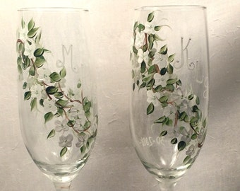 Dogwood blossom flutes for weddings anniversaries gifts special events