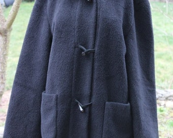 Beautiful Hilary Radley Black SIRI ALPACA Wool Hooded Jacket Coat Womens 10