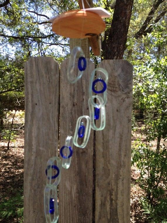 Glas windspiel recycelt bacardi flaschen von liftingupspirits