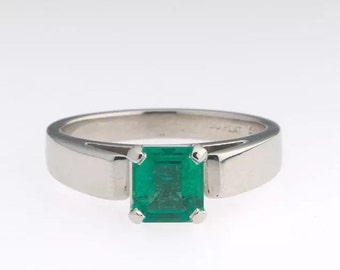 Heavy   HUGE      natural Emerald  1.25 carat  not oiled set with  Platinum  Engagment Ring