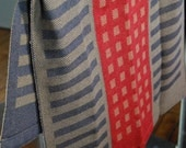 Tea Towel Handwoven Squares & Stripes Cotton/Linen Charcoal/Red