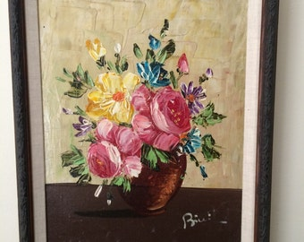 "Still-life Oil Painting of a Vase of Flowers on Canvas, Signed, Framed in Wood, 14"" by 17.5"""