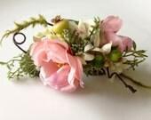 Bridal Hair Comb, Bridal Hair Clip, Wedding Flower Headpiece, Bridesmaid Hair Comb, Silk Flower Hair Comb, Woodland Wedding, Fairy Flower