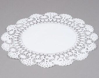 """100 - 12"""" WHITE  Paper Lace Doilies   - Wedding Decor, Bridal Shower, Baby Shower, Scrapbooking, Large Doilies, DIY Bride"""