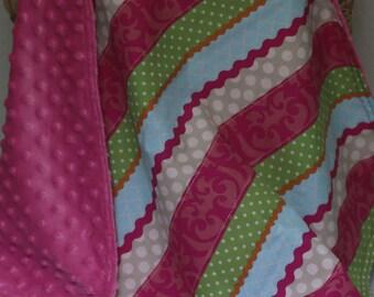 baby girl blanket, security blanket, mini blanket, soft baby blanket, minky blanket, baby blanket, ready to ship