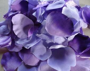 100 Flower petal lot / lavender / violet / purple / floral supplies / embellishments / mixed media / wedding / destash / craft supply / rose