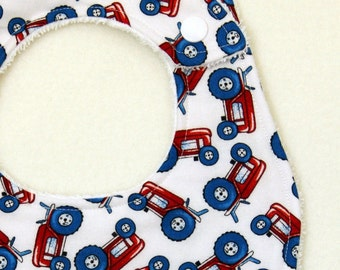 Tractor Bib - infant toddler tractor bib, terry cloth, with snaps or velcro