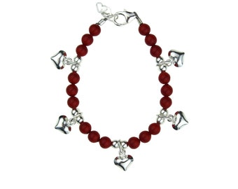 Pearls with Sterling Silver Puffy Heart Charms Bracelet (BPHCR,BPHCP)