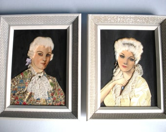 Handmade Pair of Early 20th Century Man and Woman 3 Dimensional Framed Portrait Paintings