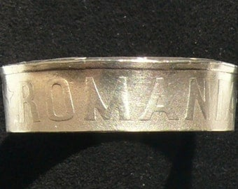 Brass Coin Ring 2006 Romania 50 Bani, Double Sided and Size 8 1/2.