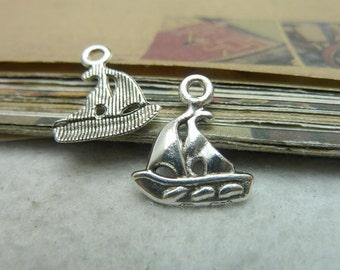 50pcs 15*19mm antique silver  sailing boat charms pendant C7350