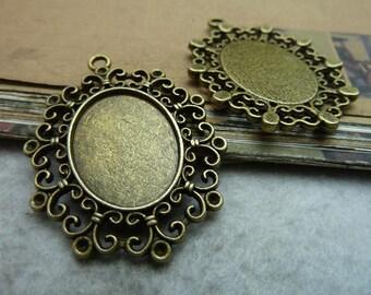 10pcs 25x18mm antique bronze cabochon pendant settings C7301
