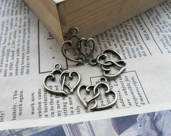 30pcs 12*20mm antique bronze love heart charms pendant C496