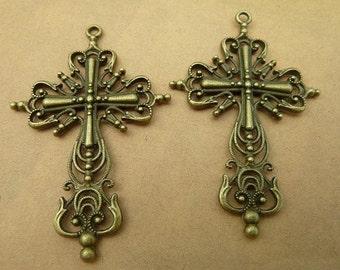 10pcs 58x42mm antique bronze cross charms pendant C2662